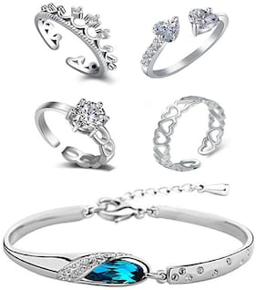 Om Jewells Immitation Jewellery Rhodium Platted Combo of 4 CZ Classy Party Wear Adjustable Rings and One Designer Crystal Bracelet for Girls and Women CO1000105