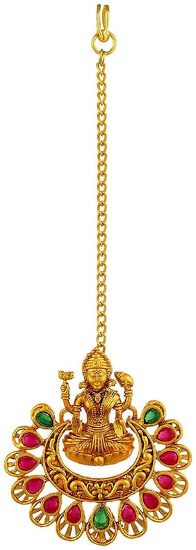 Om Jewells Bridal Temple Jewellery Gold Plated Goddess Laxmi Maang Tikka Studded with Kundan Stones for Girls and Women MT1000604