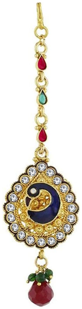 Om Jewells Bridal Jewellery Gold Plated Pear Shaped Designer Peacock Maang Tikka Made with Crystal Stones for Girls and Women MT1000603