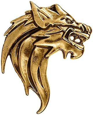 Om Jewells Men's Jewellery Gold Plated Roaring Lion Lapel Pin Brooch for Boys and Men SP10002010