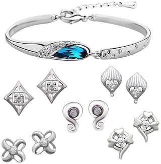Om Jewells Platinum Plated Office Wear Fashionable Combo of Five Stud Earrings with Bangle Kada CO1000021