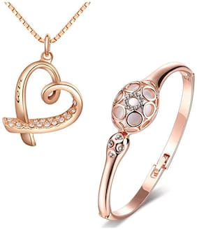 Om Jewells Rosegold Plated Lovely Combo of Heart Pendant and Bracelet with Crystal stones for girls and women CO1000116