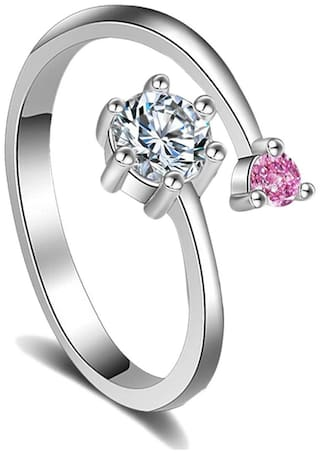 Om Jewells Party wear Stylish Pink and White CZ Stone Studded Adjustable Finger Ring for Girls and Women FR1000909