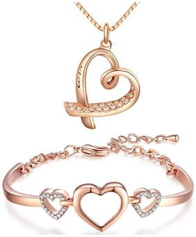 Om Jewells Rose Gold Platted Jewellery Combo of Love Engraving Heart Pendant Necklace and Delicate Heart Bangle Bracelet for Girls and Women CO1000087