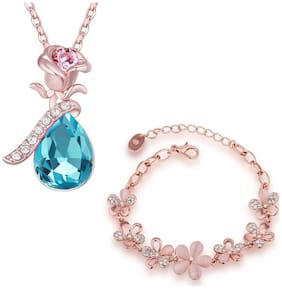 Om Jewells Christmas Collection Rosegold Plated Floral inspired Bracelet and Pendant Combo with Crystal Stones CO1000055