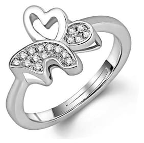 Om Jewells Rhodium Plated Daily wear Winged Butterfly Adjustable Ring for Girls and Women FR1000910