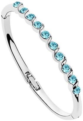 Om Jewells Stylish Aqua Blue Crystal Bangle Bracelet Fitted for Women and Girls BR1000005BLU