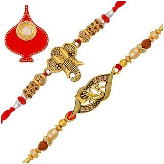 Om Jewells Rakhshabandhan Gifts Gold Oxidise Platted Auspicious Ganesha/Ganpati And Om Rakhi (Bracelet) Emblished With Lct Stones For Loving Bhai Combo Set Of 2 CO1000324