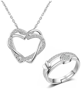 Om Jewells Rhodium Platted Combo of Crystal Heart in Heart Pendant and Adjustable Double Heart Ring for Girls and Women CO1000101