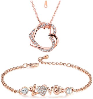 Om Jewells Rosegold Jewellery Combo of Heart in Heart Pendant  with LOVE Link Bracelet  for Girls and Women CO1000086
