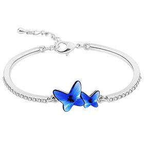 Om Jewells Rhodium Plated Delicate Blue Twin Butterfly Bangle Bracelet  Enriched with White Crystal made for Girls and Women BR1000021