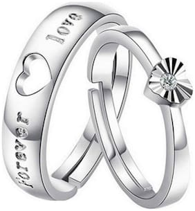 Om Jewells Rhodium Plated Daily use Love Forever Proposal Heart Couple Ring for Women and Men CO1000204