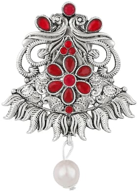 Om Jewells Red Kundan Stones Studded Peacock Shape Brooches and Pin with Rhodium Oxidise Finish for Women SP10002002