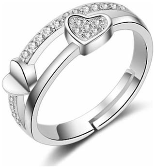 Om Jewells Rhodium Plated Daily wear Adjustable Love Finger Ring with CZ Stones for girls and women FR1000906