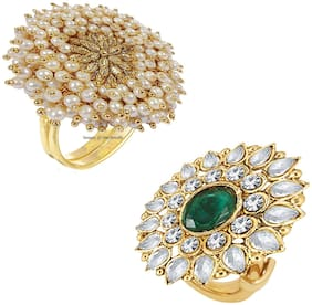 Om Jewells Traditional Ethnic Gold Plated Combo of 2 Adjustable Cocktail Finger Ring for Girls and Women CO1000230