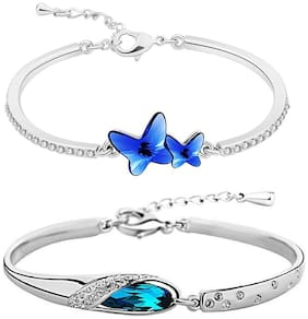 Om Jewells Blue Love Bracelets Combo with crystal stones for girls and women CO1000113