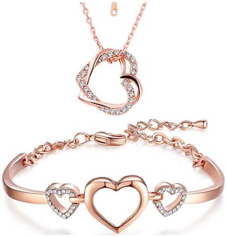 Om Jewells Rosegold Plated Combo of Dual Heart Pendant and Heart Link Bracelet with crystal stones for girls and women CO1000110
