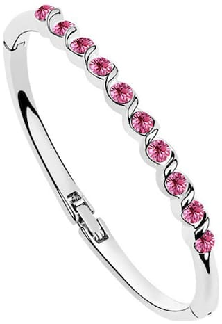 Om Jewells Fashionable Deep Pink Crystal Bangle Bracelet  for Women and Girls BR1000005PIN