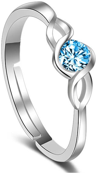 Om Jewells Rhodium Plated Daily wear Adjustable Curvy CZ Solitaire Finger Rings Crafted  for Girls and Women FR1000914BLU
