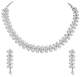 Om Jewells Shining White Crystals Collar Necklace Set for Girls and Women NL1000525