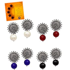 Om Jewells Silver Oxidise Indo Western Jewellery Combo of 4 Sun Shaped Tops Earrings with Greeting Card for Girls and Women CO1000174