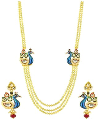 Om Jewells Traditional Gold Plated Multi Strand Meenakari Peacock Necklace with drop earrings NL1000541