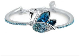 Om Jewells Valentine Collection Blue Crystal Jewelled Swan Adjustable Bangle Bracelet fitted for Women & Girls (Made In India) BR1000002