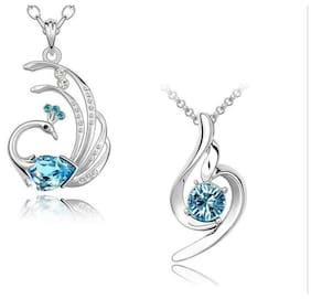 Om Jewells Alloy and Crystal Pendant set