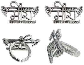 OMAYA German Oxidized Silver Unique Traditional Antique Stylish Meera Stud Earrings And Ring For Women