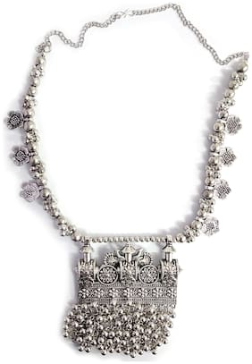 Omaya Silver Oxidized Ghungroo Choker Necklace For Women And Girls