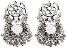 Omaya Trendy Chandbali Mirror Earrings Beads Alloy Chandbali Earring