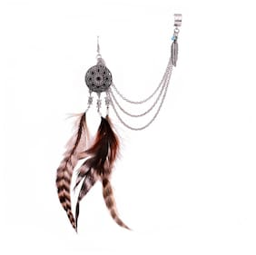 """OOMPH Brown Red Indian Ostrich Feather Bohemian Cuff Earring For Women & Girls """"Boho Chic Collection"""""""