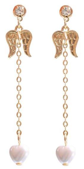 OOMPH Gold Angel Wings & Faux Pearls Fashion Drop Earrings for Women & Girls
