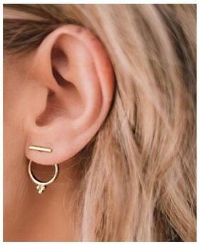 OOMPH Gold Tone Minimal Ear Jacket Ear Stud Earrings For Women & Girls