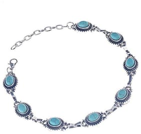 OOMPH Jewellery Antique Silver Bohemian Turquoise Bead Anklet For Women & Girls Boho Collection