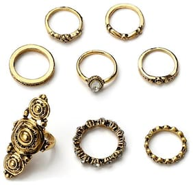 OOMPH Jewellery Combo of 7 Antique Gold Tribal Bohemian Fashion Ring Set For Women & Girls Boho Chic Collection