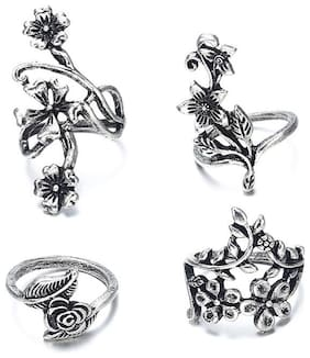 OOMPH Jewellery Combo of 4 Antique Silver Tone Vintage Floral Fashion Ring Set