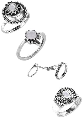 OOMPH Jewellery Combo of 4 Antique Silver Bohemian Fashion Ring Set for Women & Girls