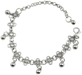 OOMPH Jewellery Antique Silver Bohemian Tribal Anklet for Women -Single Piece