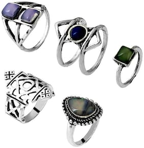 OOMPH Jewellery Combo of 5 Antique Silver & Blue Crystal Bohemian Fashion Ring Set for Women & Girls Boho Chic Collection