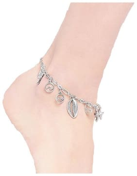 OOMPH Jewellery Antique Silver Bohemian Charm Fashion Anklet For Women & Girls