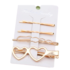 OOMPH Jewellery Combo of 4 Gold Tone Heart Shape Fashion Hair Pin for Women & Girls