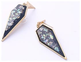 OOMPH Jewellery Black Geometric Crystal Drop Fashion Earrings