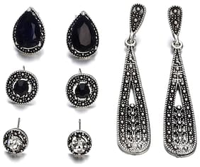OOMPH Jewellery Combo of 4 Antique Silver Tone Crystal Encrusted Ear Stud & Drop Fashion Earrings