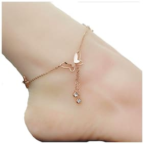 OOMPH Jewellery Rose Gold Tone Butterfly Shape Delicate Fashion Anklet For Women & Girls (Single Piece)
