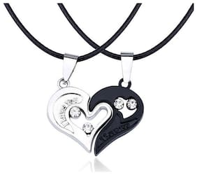 OOMPH Jewellery Heart Two Piece I Love You Silver & Black Stainless Steel Fashion Couple Pendant Necklace Set
