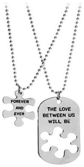 OOMPH Jewellery Dog Tag Two Piece Forever Love Silver Stainless Steel Couple Pendant Necklace Set For Men & Women