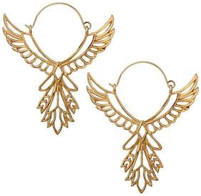 OOMPH Jewellery Gold Tone Statement Filigree ThunderBird Shape Drop Fashion Earring