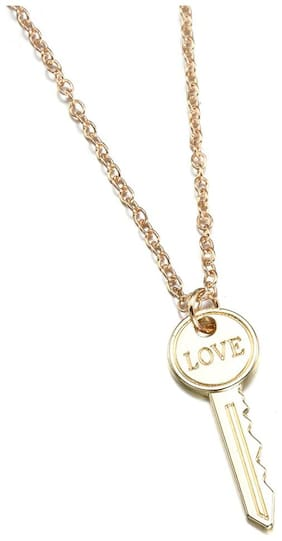 Oomph Jewellery Gold Tone Love Key Delicate Fashion Pendant  For Women & Girls