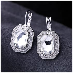 OOMPH Jewellery Silver Plated Princess Cut Cubic Zirconia Fine Drop Fashion Earrings
